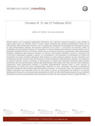 Circolare N. 31 del 27 Febbraio 2015 - Lettere di intento