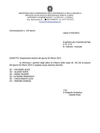 Comunicazione n. 129 sospensione lezione di chitarra 02-03-2015