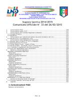Comunicato Ufficiale N° 33 del 26/02/2015
