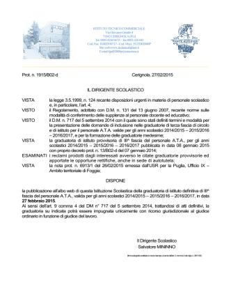 Decreto pubblicazione graduatoria istituto definitiva 3^ fascia ATA