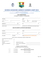 SCHEDA ISCRIZIONE SARNICO SUMMER CAMP 2015