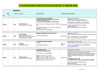 CALENDARIO FIDAL VARESE