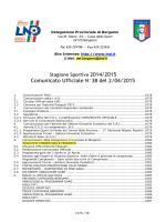 Comunicato Ufficiale N°38 del 2/04/2015