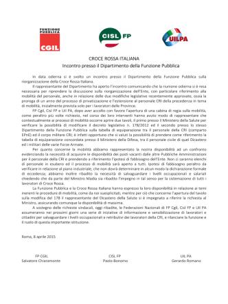 CROCE ROSSA ITALIANA Incontro presso il Dipartimento della
