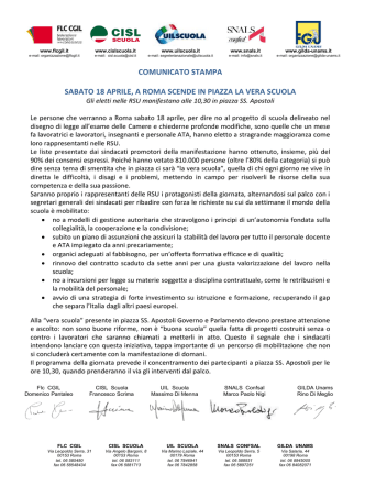 Comunicato unitario 18 aprile 2015 - Federazione Gilda