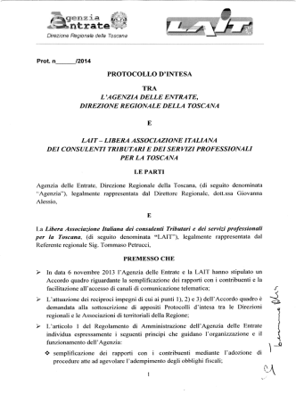 Accordo Lait - DRE Toscana