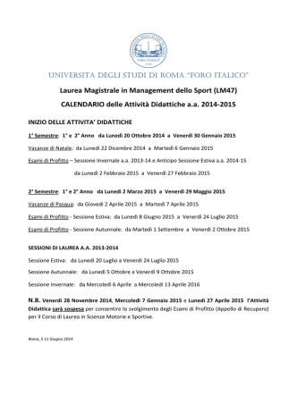 Calendario Annuale e Orario completo LM47 a.a. 2014-15
