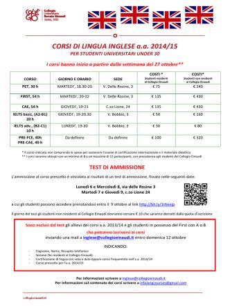 CORSI DI LINGUA INGLESE a.a. 2014/15