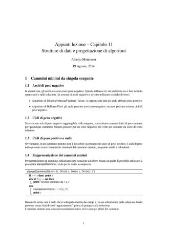 Appunti lezione – Capitolo 11 Strutture di dati e progettazione di