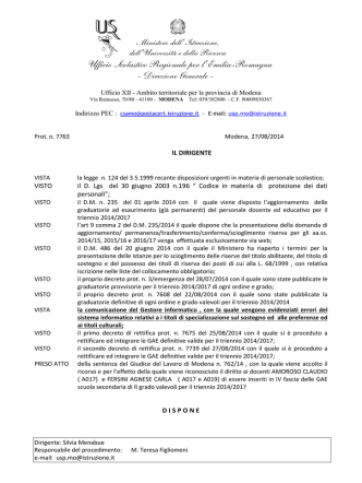 Decreto_ Inserimento IV fasciaGAE_triennio 2014-2017