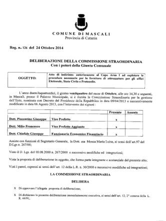 Delibera N° 126 Commissione Straordinaria con i poteri della