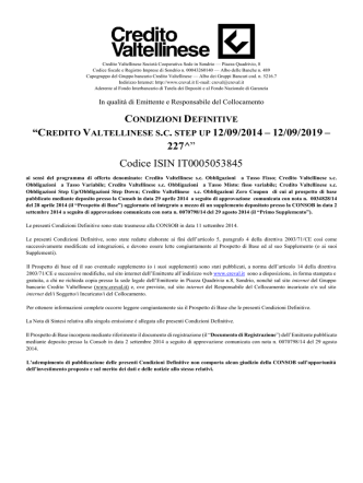 Credito Valtellinese s.c. Step Up 12/09/2014-12/09/2019
