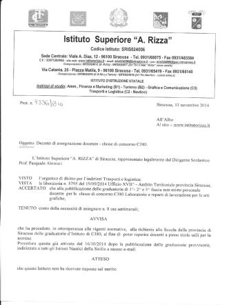 Decreto di assegnazione docenze - Classe di