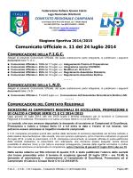 Comunicato Ufficiale n. unicato Ufficiale n. 11 del 24 luglio luglio 2014