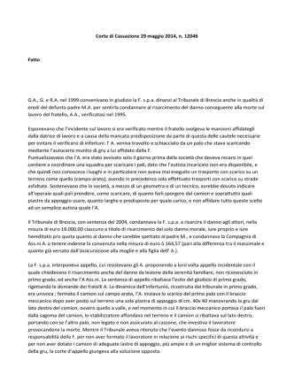 Corte di Cassazione 29 maggio 2014, n. 12046