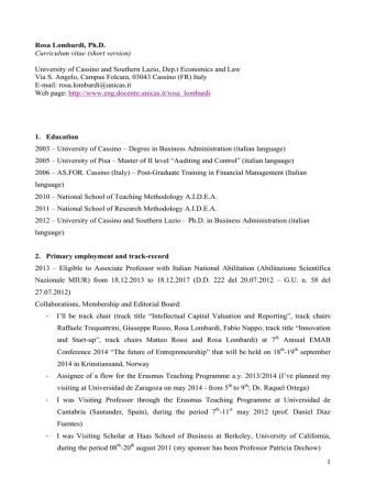 1 Rosa Lombardi, Ph.D. Curriculum vitae (short version) University