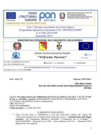 Bando Agenzie PON C1 - www.iteparetopalermo.it