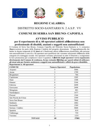 avviso pubblico - Comune di Serra San Bruno