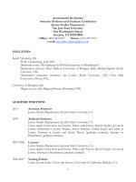 Curriculum Vitae - San Jose State University