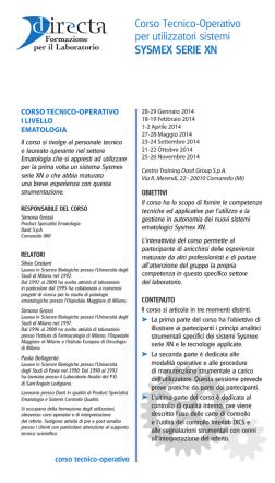 Corso Tecnico-Operativo per utilizzatori sistemi SYSMEX SERIE XN