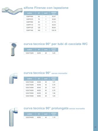 curva tecnica 90° per tubi di cacciata WC curva tecnica 90° senza