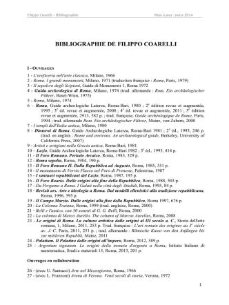 BIBLIOGRAPHIE DE FILIPPO COARELLI