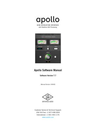 Apollo Software Manual v7.7