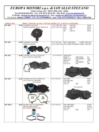 Carter Valvola Ventilazione Testata Motore BMW