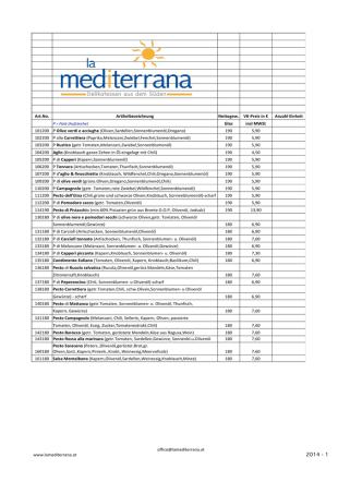 Aktuelle Preis - LaMediterrana.at