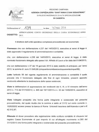 approvazione conto giudiziale della cassa economale anno 2013.