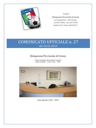 COMUNICATO UFFICIALE n. 13 - FIGC Delegazione Provinciale di