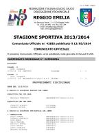 REGGIO EMILIA STAGIONE SPORTIVA 2013/2014