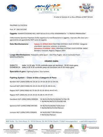 A tutte le Società di Ju Jitsu affiliate al MSP SICILIA PALERMO 31