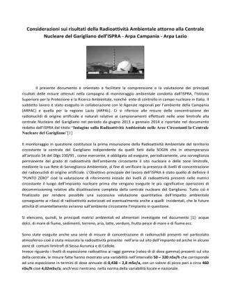 Considerazioni sui risultati della Radioattività Ambientale