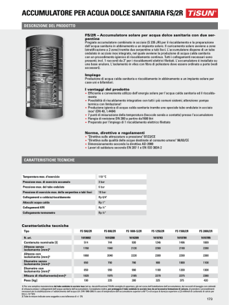 accumulatore per acqua dolce sanitaria fs/2r - HT