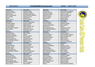 2014/2015 CALENDARIO Giovanissimi ANNO - 2000-2001
