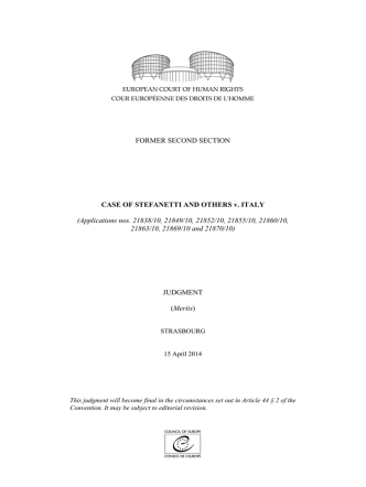 CASE OF STEFANETTI AND OTHERS v.