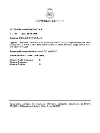 Associazioni che hanno effettuato il rinnovo di iscrizione al registro