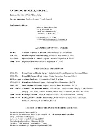 ANTONINO SPINELLI, M.D. Ph.D. - Università degli Studi di Milano