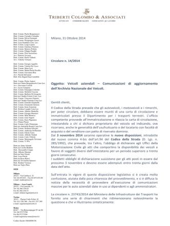 Circolare 14-2014 Aggiornamento carta di circolazione