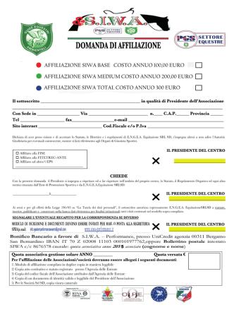 . AFFILIAZIONE SIWA BASE COSTO ANNUO 100,00 EURO E