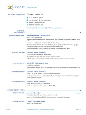 Curriculum pdf - Francesco Amirante