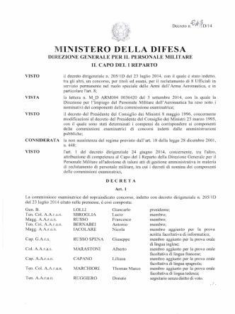 Decreto Commissione AARAS