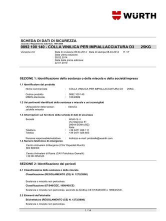 0892 100 140 - COLLA VINILICA PER IMPIALLACCIATURA D3 25KG