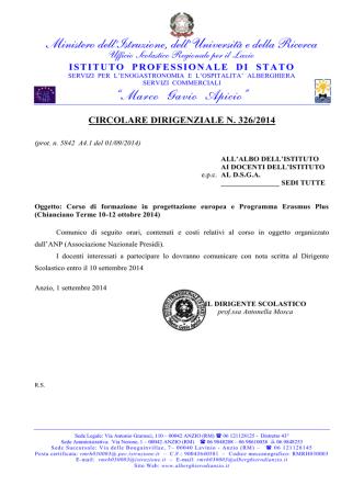 CircDirig 326 Corso ANP Progettazione Europea