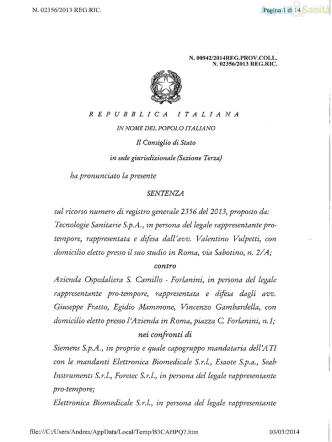 Con.Stato, III°, 28/2/2014, n. 942
