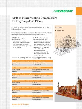 API618 Reciprocating Compressors for Polypropylene Plants