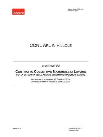 CCNL APL IN PILLOLE