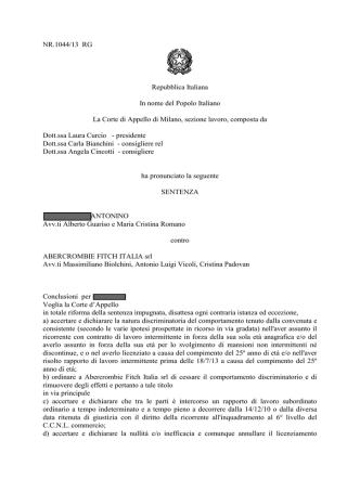 Corte Appello Milano sentenza 15.4.2014