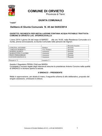 delibera 45 del 04/03/2014